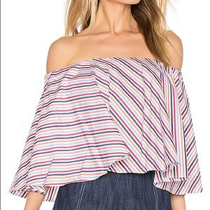 Petersyn off the shoulder crop top, stripes, Small